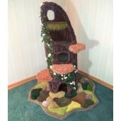 "64"" height, English Ivy/Jasmine, Folded exterior carpet, draping moss, 3 tree fungus steps, & dense moss/6 stones on the base."