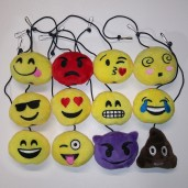 Currently Available Emoji Fiber-Filled Plush Hanging Cat Toys