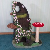 """42"""" (16"""" Diam.) w/ 3 fungus steps, mushroom scratch post (natural sisal), draping moss, 2 butterflies, & dense moss patches on the base."""