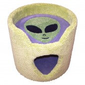 Shown here in lime green, with gray background / interior & grass green alien face