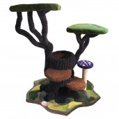 Shown here with modular base with 2 interior levels, 1 mushroom scratch post, and dense moss & 6 stones.
