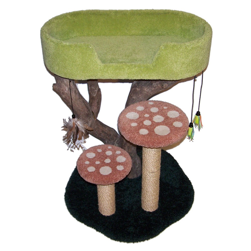 Shown here with local tree branch, forest green base, lime green bed, & terracotta mushroom caps w/ white spots & natural sisal.