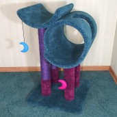 Azure blue with plum posts & purple dyed sisal.  3 Catnip Moon Toys by Incatuated.