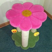Shown here with carnation flower, grass green base, pastel green, & 3 Emoji cat toys.