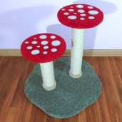 """Shown here in 26"""" height w/ red & white mushrooms, moss green base, & natural sisal"""