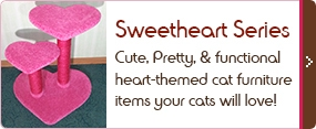 Heart-themed cat furniture items